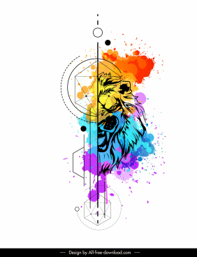 lion animal tattoo template watercolored grunge decor