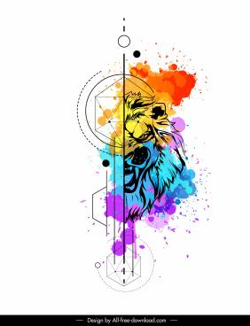 lion animal tattoo template watercolored grunge decor