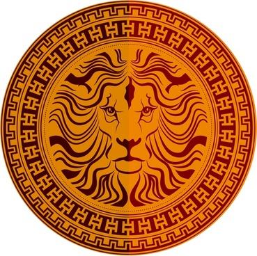 lion decoration on medallion template