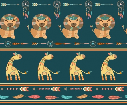 lion giraffe icons pattern tribal classical repeating style