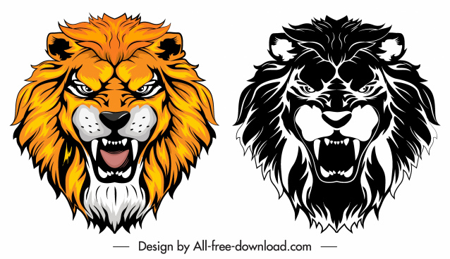 lion head icons colored black white sketch
