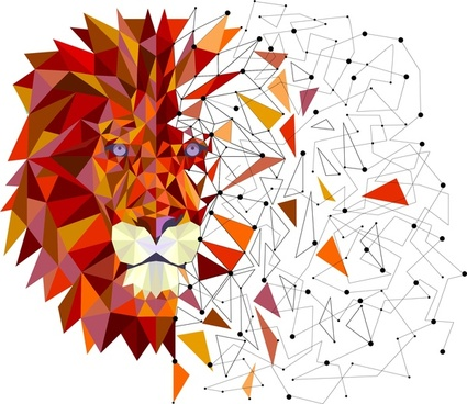 lion head in geometric design vector