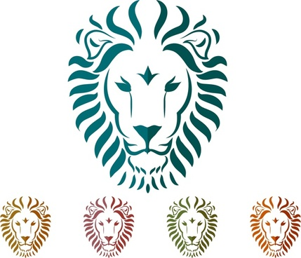 lion heads decoration collection in various colors