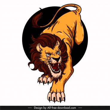 lion icon aggressive gesture sketch colored 3d design