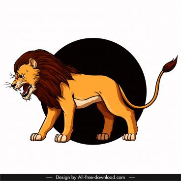 lion icon aggressive sketch colored cartoon design