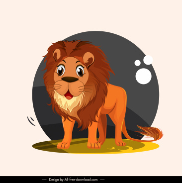 lion icon cute cartoon character sketch