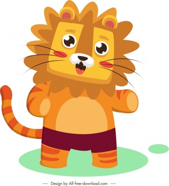 lion icon cute stylized cartoon sketch