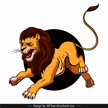 lion icon playful sketch colored cartoon character