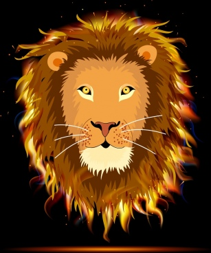 lion icon sparkling fire face design