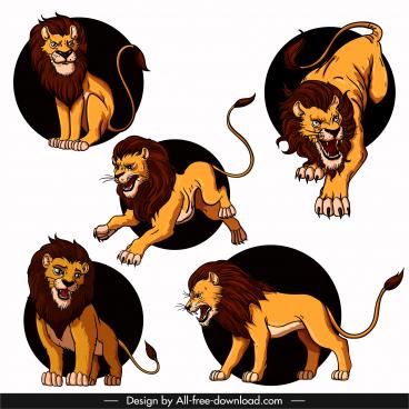 lion icons colored cartoon sketch