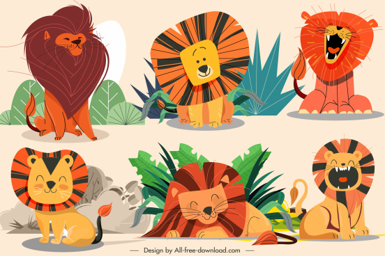 lion icons cute cartoon sketch handdrawn design