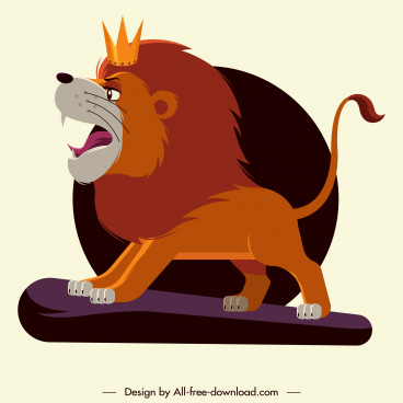 lion king icon colored cartoon character sketch