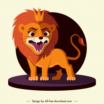 lion king icon roaring gesture cartoon design