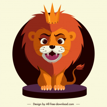 lion king icon stylized cartoon character