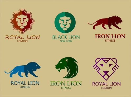 lion logo sets design in various colors styles