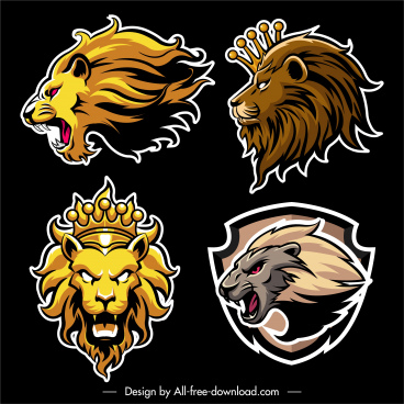 lion logotypes flat handdrawn sketch