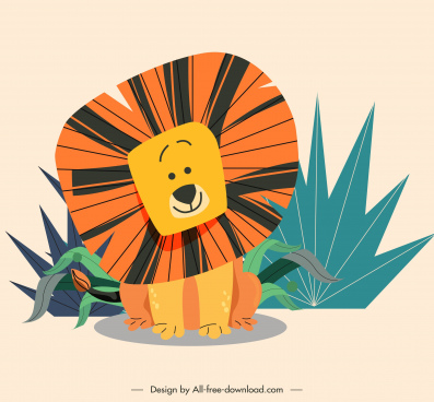lion painting cute cartoon sketch colorful handdrawn design