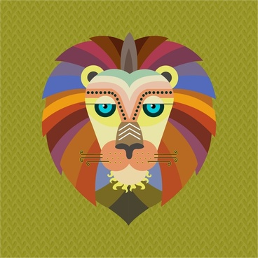 lion portrait design in trendy colored flat style