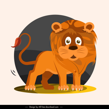 lion species icon classic handdrawn sketch cartoon character