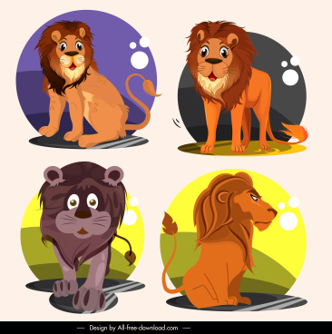 lion species icons funny cartoon characters sketch