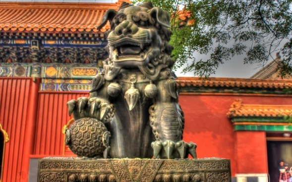 lion statue at lama temple in beijing china