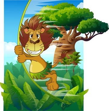 jungle painting funny stylized lion colored cartoon design