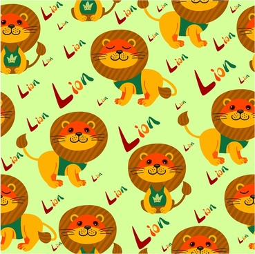 lions repeat pattern design with bright color background