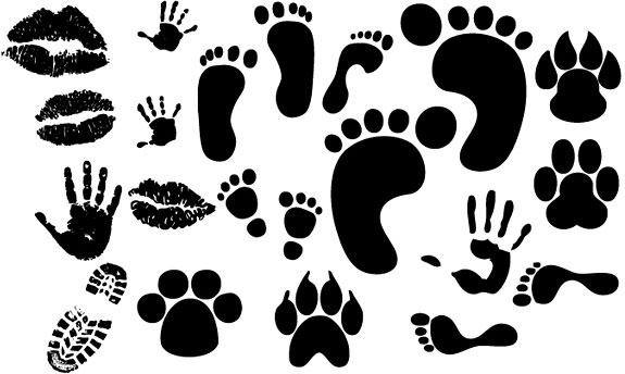 lip footprints shoe prints fingerprint vector