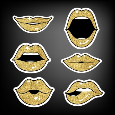 lip icons collection shiny golden decor