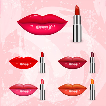 lips and lipsticks collection vector illustration