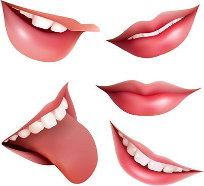 lips design elements vector set