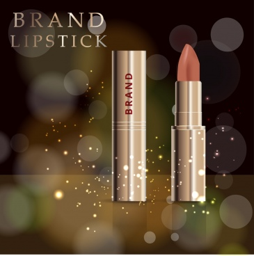 lipstick advertisement realistic design bokeh light ornament