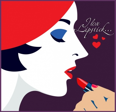 lipstick advertising woman face icon colored cartoon design