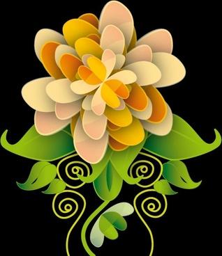 flower vector illustration on dark background