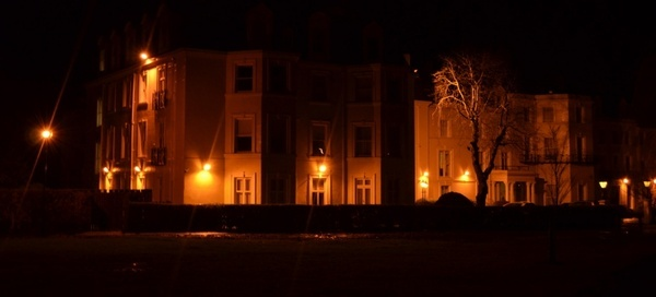 lit house at night