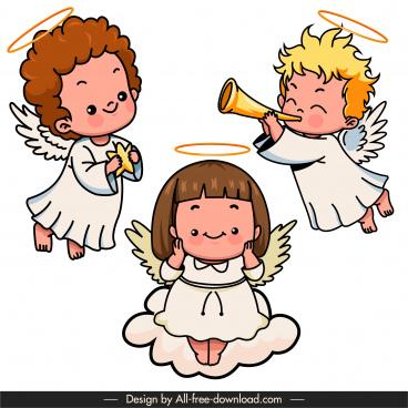 little angels icons cute joyful kids sketch