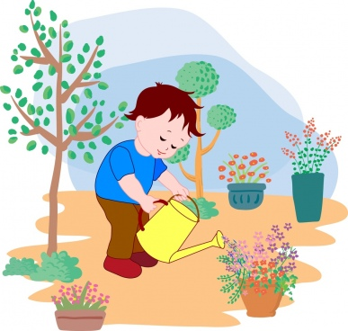 little boy watering flowers background colored cartoon decor