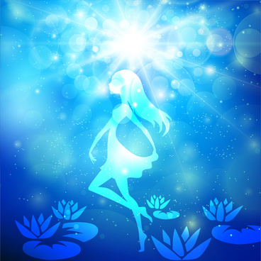 little fairy blue light fantasy abstract background