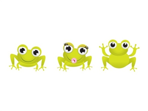 little green frogs vector illustration with funny style
