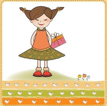 little girl cartoon 01 vector