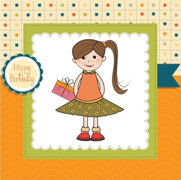 little girl cartoon background pattern vector