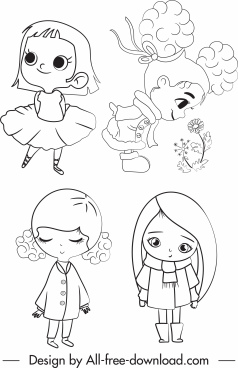 little girls icons cute cartoon character handdrawn sketch