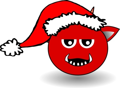 Little Red Devil Head Cartoon with Santa Claus hat
