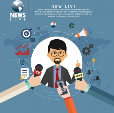 live news design elements reporter icon circle layout