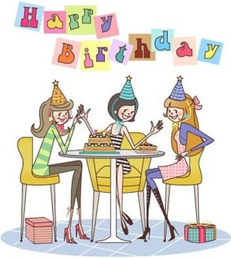 birthday banner gathering friends sketch cartoon character design