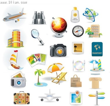 travel design elements colored modern 3d icons
