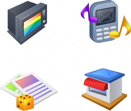 appliances icons colored 3d design