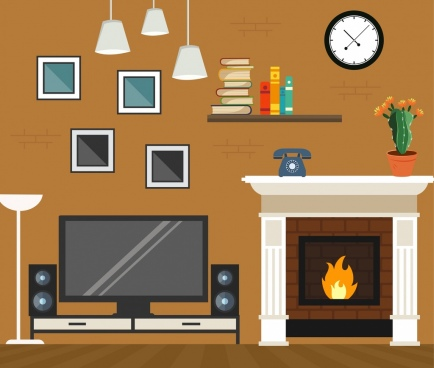 living room background modern furniture icons decor