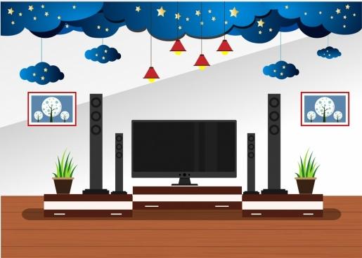 living room decor design 3d cloud stars decoration