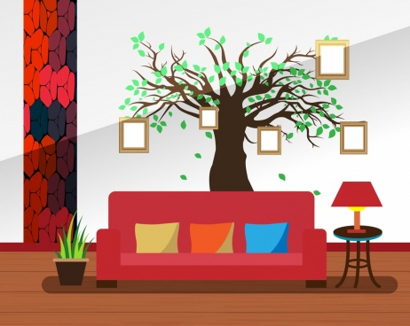 living room decor design autumn tree style